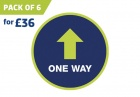 'ONE WAY' circular distancing floor sticker - pack of 6