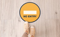 'NO ENTRY' circular distancing floor sticker - pack of 6