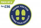 'THANK YOU' circular distancing floor sticker - pack of 6