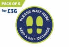 'WAIT HERE' circular distancing floor sticker - pack of 6
