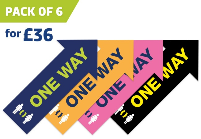 'ONE WAY' Arrow distancing floor sticker - pack of 6
