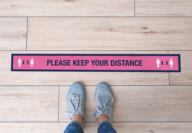 'KEEP YOUR DISTANCE' floor strip stickers - pack of 6