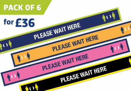 'WAIT HERE' floor strip stickers - pack of 6