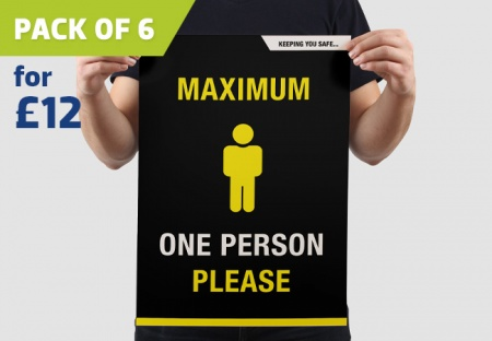 'ONE PERSON ONLY' A3 Posters - pack of 6