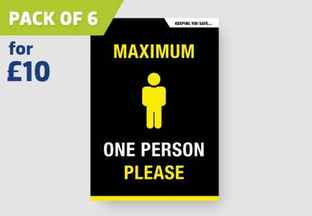 'ONE PERSON ONLY' A4 Posters - pack of 6